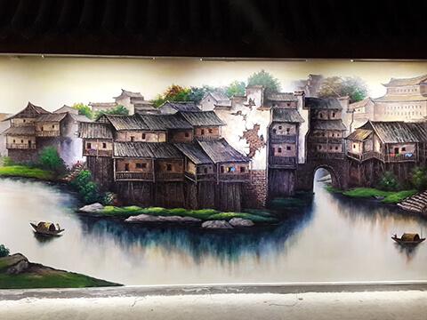 [长沙餐厅壁画案例]田牛庄园---竹文心高端墙绘
