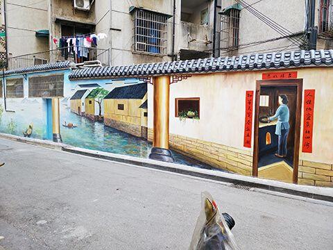 [竹文心城市文化墙案例]----五一广场桐荫里社区-江南水乡