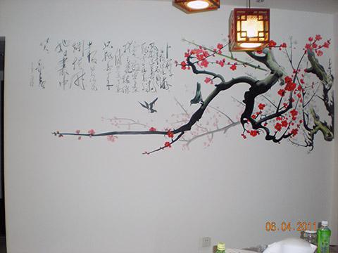 [电视背景墙墙绘案例]--恒大绿洲–国画梅花---竹文心墙绘作品