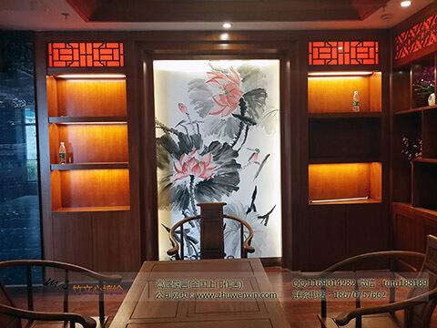 [餐厅壁画案例]花之林人文茶馆-国画荷花