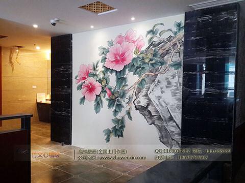 [餐厅壁画案例]花之林人文茶馆-国画富贵牡丹