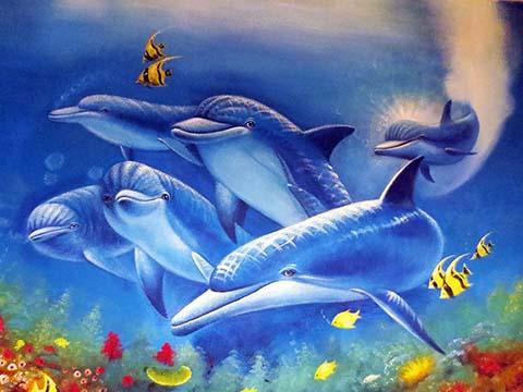 [长沙竹文心3D立体画作品]----提莫餐厅–3D立体画之海豚队