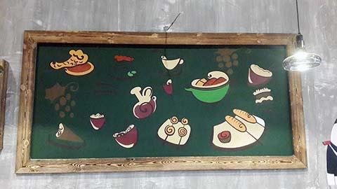 [长沙墙绘壁画餐厅壁画案例]---餐厅工业风卡通壁画