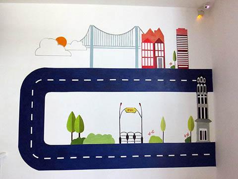 [长沙墙绘壁画竹文心壁画案例]---长沙MBC 母婴生活馆卡通壁画一