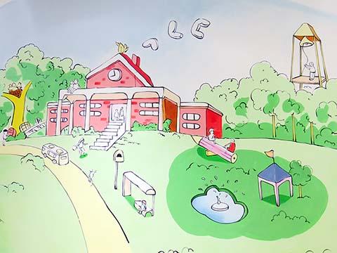 [长沙墙绘壁画竹文心壁画案例]---长沙MBC 母婴生活馆卡通壁画二