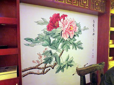 [长沙墙绘壁画竹文心餐厅壁画案例]---侯家塘花之林茶馆-富贵牡丹