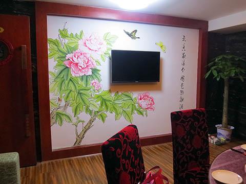 [长沙墙绘壁画竹文心餐厅壁画案例]---侯家塘花之林茶馆包间墙画