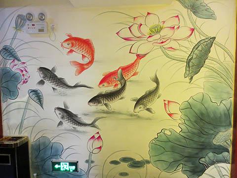 [长沙墙绘壁画竹文心餐厅壁画案例]---侯家塘花之林茶馆-鱼和荷花