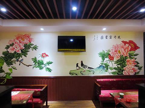 [长沙墙绘壁画竹文心餐厅壁画案例]---侯家塘花之林茶馆-花开富贵图
