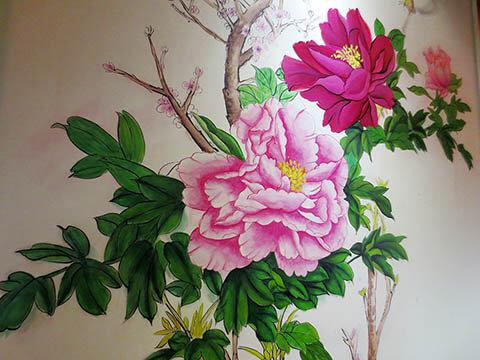 [长沙墙绘壁画竹文心餐厅壁画案例]---春花语人文茶馆-富贵牡丹