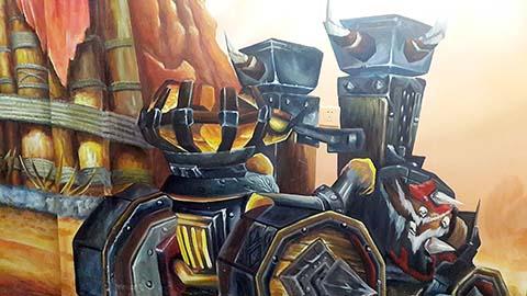 [长沙墙绘壁画竹文心 烧烤店壁画案例]---长郡中学魔兽主题烧烤吧