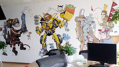 [长沙墙绘壁画竹文心公司壁画案例]---漫画公司企业彩绘2