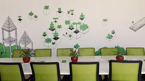[长沙墙绘壁画竹文心公司壁画案例]---漫画公司企业彩绘