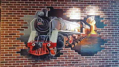 [长沙墙绘公司竹文心壁画案例 网吧3D画]---教师村火车头网吧彩绘手绘
