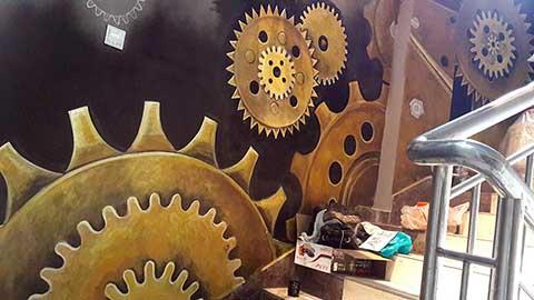 [长沙墙绘公司竹文心壁画案例 网吧3D画案例]---火车南站聚玩网咖彩绘手绘