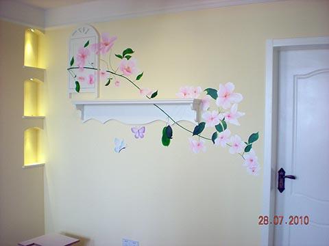 [长沙墙绘壁画竹文心公司壁画案例 家装餐厅背景墙案例]---左邻右里小区