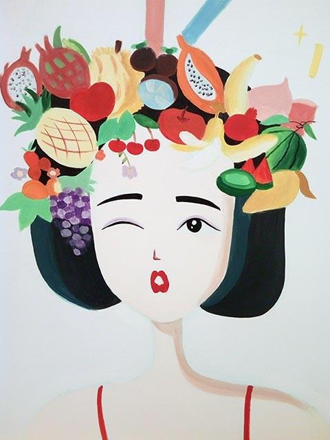 [长沙墙绘壁画竹文心公司壁画案例 蛋糕茶饮店壁画案例]---茶饮店彩绘手绘