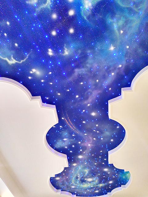 [长沙竹文心墙绘公司壁画案例-保利国际李总天顶彩绘 ]---天顶星空星云壁画