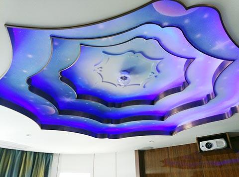 [长沙竹文心墙绘公司壁画案例 ]---别墅影音室天顶隐形画