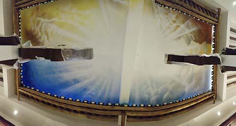 [长沙竹文心墙绘公司壁画案例 ]---郴州龙潭中学天顶彩绘壁画
