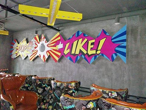 [长沙竹文心墙绘公司壁画案例 ]---湘潭新世纪网吧网咖涂鸦墙绘手绘设计施工