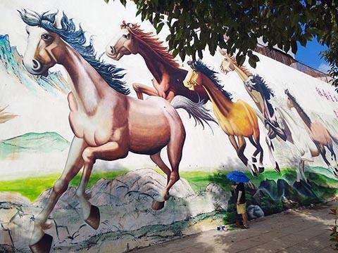 [长沙竹文心墙绘公司壁画案例 ]---邵阳市新邵县长滩文化墙墙绘八骏图彩绘