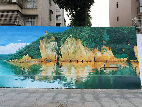 [长沙竹文心墙绘公司壁画案例 ]---邵阳市新邵县江南广场围墙墙绘壁画